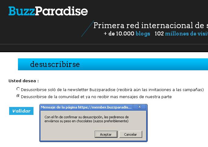 Alerta de Buzz Paradise